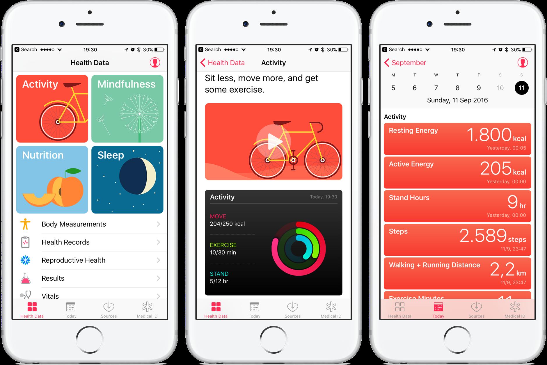 application Santé sur iPhone